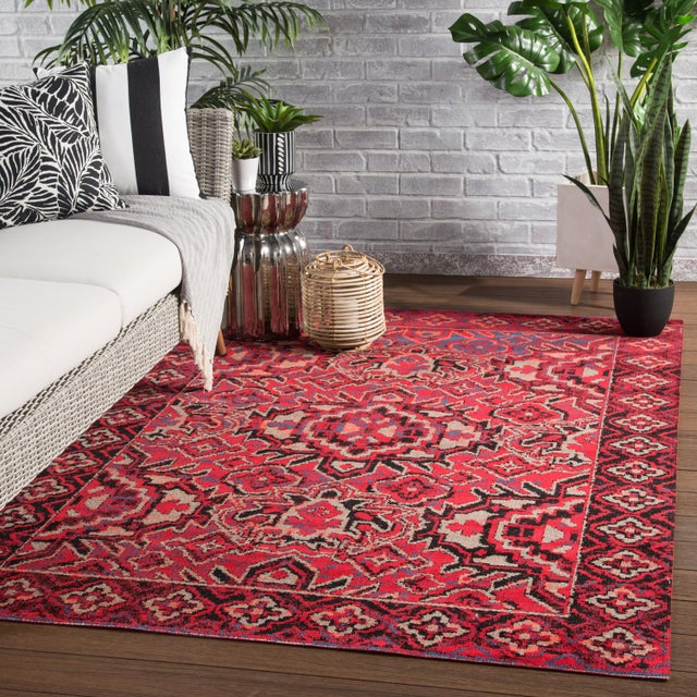 """Jaipur Living Chaya Indoor Outdoor Medallion Red Black Area Rug 5'3""""X7'6"""" For Sale In Atlanta - Image 6 of 7"""