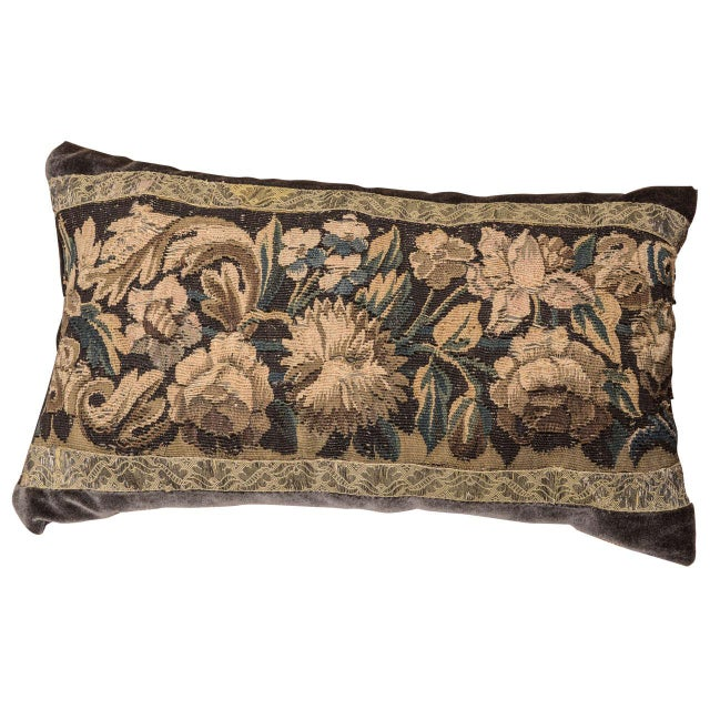 18th Century Large Lumbar Tapestry Pillow For Sale In Houston - Image 6 of 6