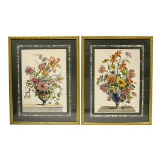 Hand-Colored Floral Engravings, Pair For Sale