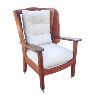 Unusual Mahogany Wing Chair