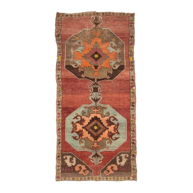 Textile Vintage One of a Kind Turrkish Wool Rug- 5′8″ × 12′1″ For Sale - Image 7 of 7