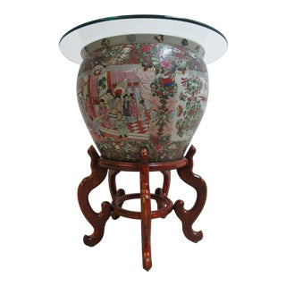 Vintage Asian Pottery Fish Bowl Stand Lamp End Table Pedestal For Sale