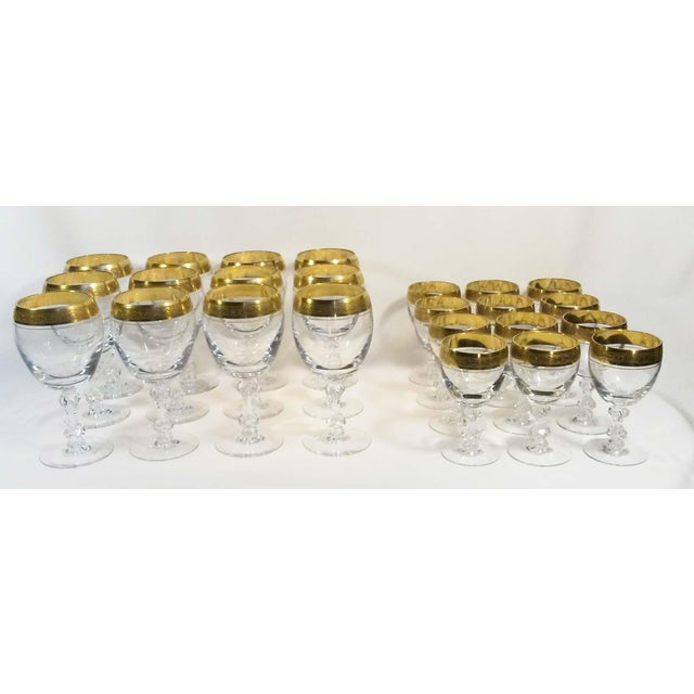 Beautiful set of fine crystal glassware manufactured by Tiffin/Franciscan in pattern #17679 Westchester. This pattern...