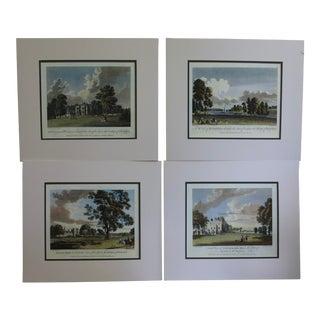 English Country Manor Houses Matted Prints - Set of 4 For Sale