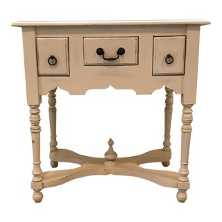 Cream Wood Side Table / Night Stand