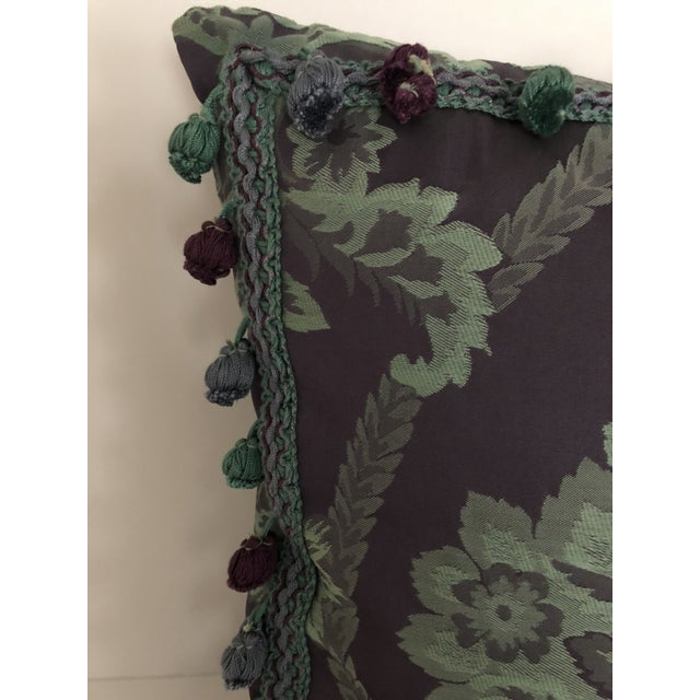 This is a charming damask pillow, contemporarily made. The piece is rendered in a fabulous palette of deep purple and...