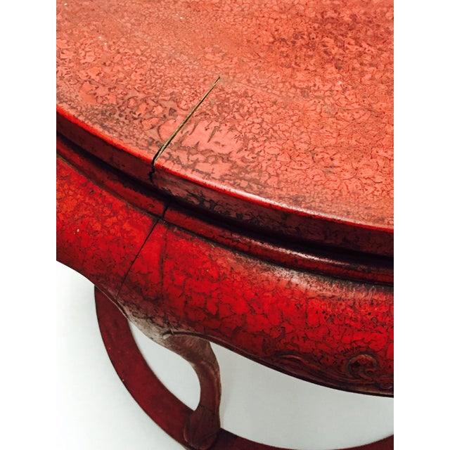 Chinoiserie Red Demilune Console Tables - a Pair - Image 7 of 10
