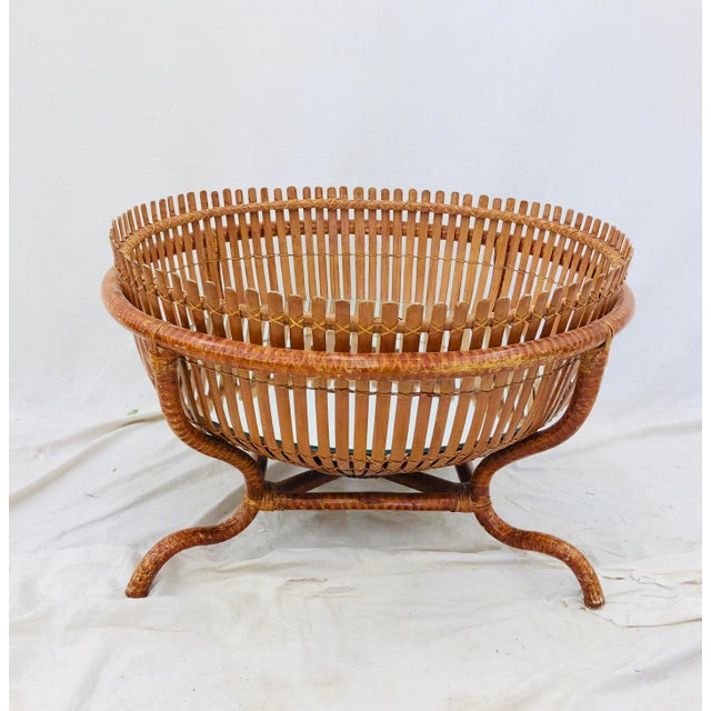 Vintage Rattan & Glass Top Coffee Table For Sale - Image 10 of 12