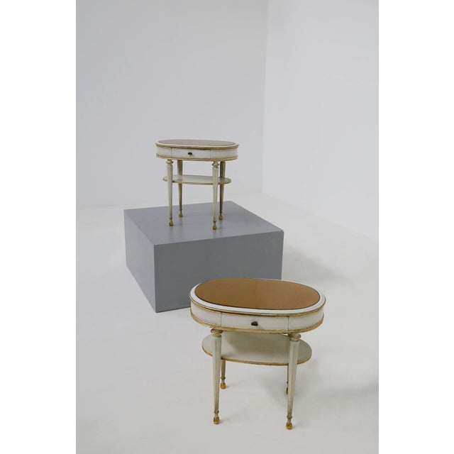 Pair of French Style White Bedside Tables in Wood and Orange Gilt Glass. 1940s For Sale - Image 12 of 12