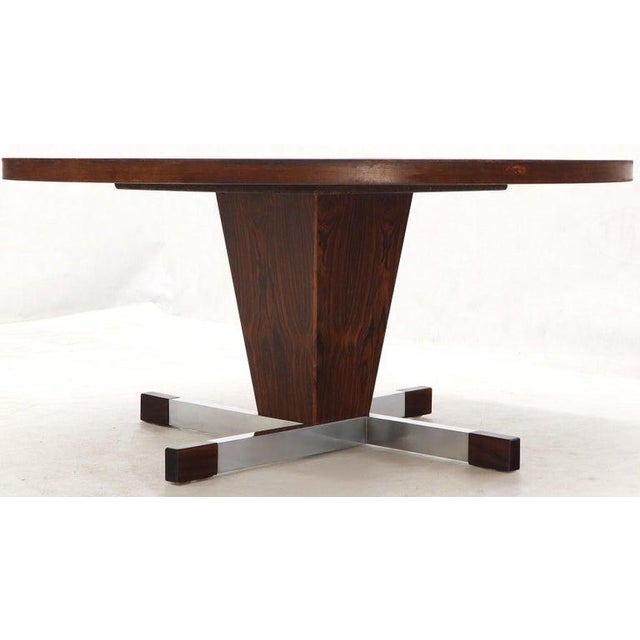 Danish Mid-Century Modern art tile top large round coffee table.