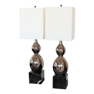 Ceramic Mercury Glazed Lamps on Thick Marble Plinth Bases, Pair by C. Damien Fox For Sale