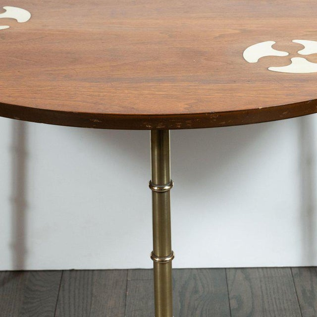 Contemporary Mid-Century Organic Inlaid Brass & Walnut Bowfront Side/End Table by Mastercraft For Sale - Image 3 of 10