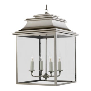 4 Candle Polished Nickel Lantern For Sale