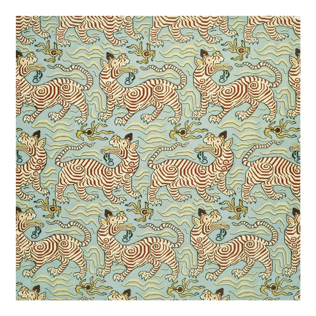 Clarence House Tibet Print Fabric in Powder- Yard For Sale