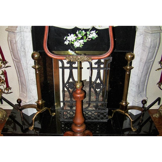 Early 19th Century 19c Philadelphia Brass Andirons With Roman Columns and Ball Finials- a Pair For Sale - Image 5 of 9