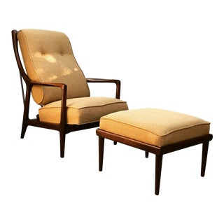 Mid-Century Danish Modern Lounge Chair Recliner and Ottoman