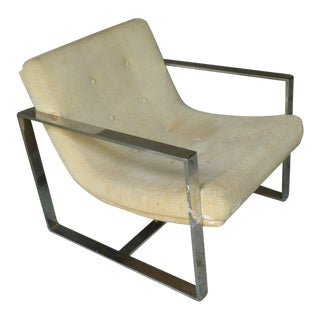 1970's Milo Baughman Thick Chrome Arm Chair For Sale