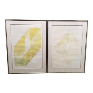 "Vida Hackman (20th C.) ""Box Landscape"" Pair of Etchings W/ Aquatint C.1970s For Sale"