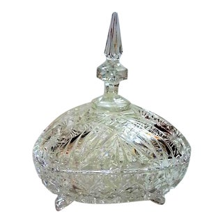Triangle Shaped Cut Glass Candy Dish For Sale