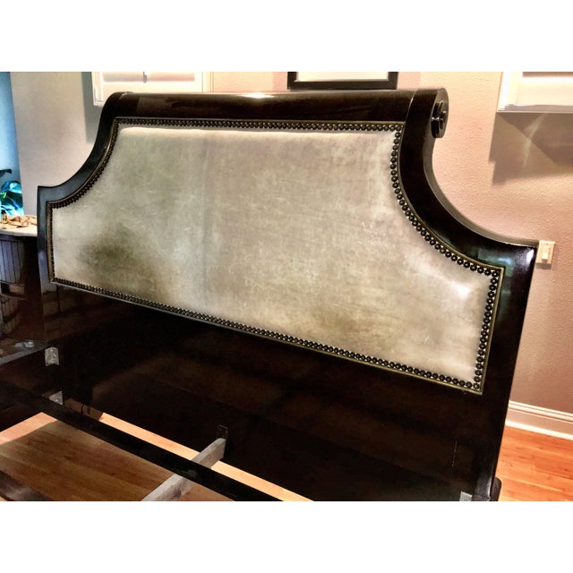 "King 85""W x 101""D x 66.5""H. Waxed Finish Sumatra with hand painted gold trim. Upholstered Bed in Leather, Taupe, Cement..."