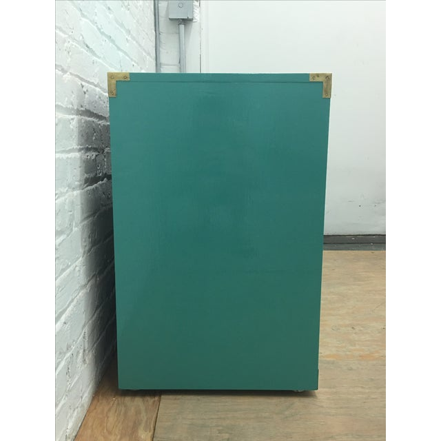 Dixie Lacquered Turquoise Faux Bamboo Credenza - Image 7 of 11