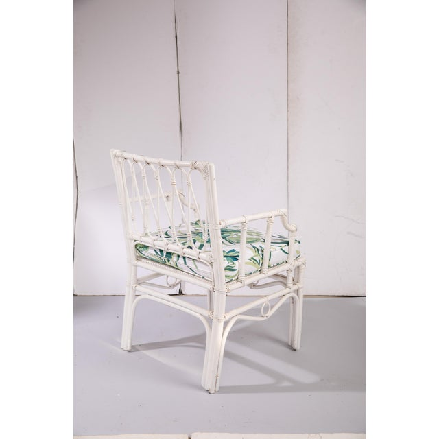 1950s Vintage White Rattan Armchair For Sale In Greensboro - Image 6 of 13
