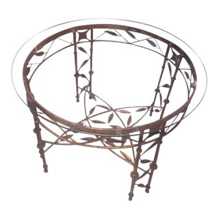 Wrought Iron Round Leaf Motif Table For Sale