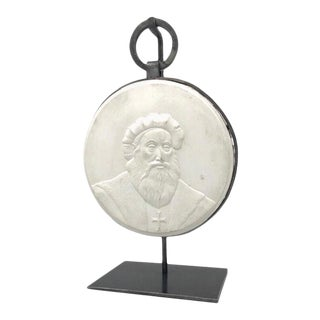 Religious Figure Bas Plaster Relief With Custom Stand For Sale