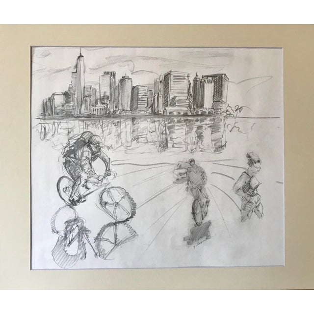New York Manhattan Skyline by Tom Christopher Original graphite pencil Drawing signed lower right included with this...