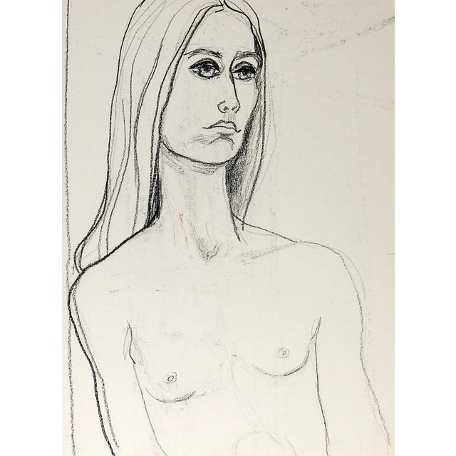 Mid Century Nude Study Drawing of Woman For Sale