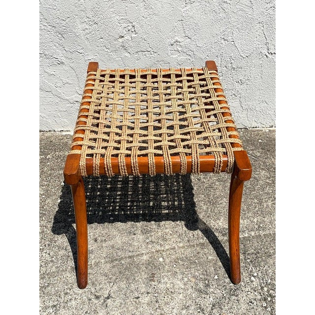 Brown Vintage Klismos Mahogany and Woven Rope Bench, in the Manner of Robsjohn-Gibbons For Sale - Image 8 of 11