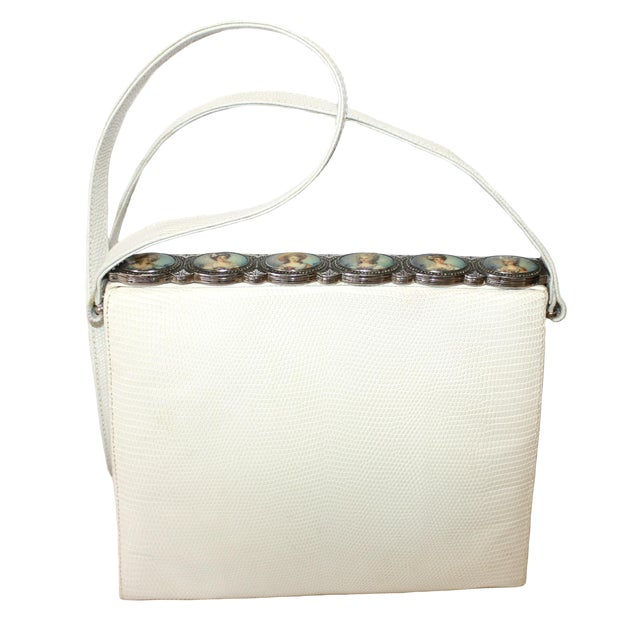 1960s White Lizard Purse With Portrait Frame For Sale