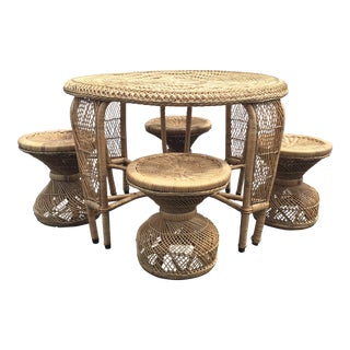 1970's Petite Wicker Table & Stools For Sale