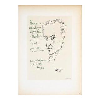 "Pablo Picasso Homage to Antonio Machado 12.5"" X 9.25"" Lithograph 1959 Cubism Black & White For Sale"