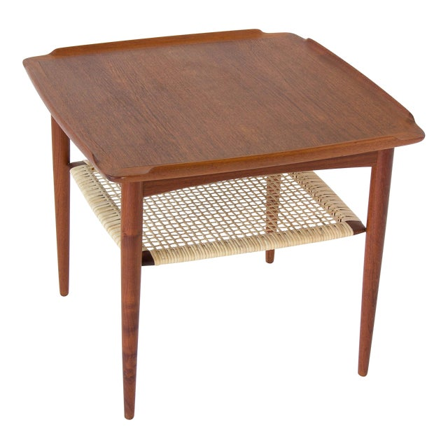 Poul Jensen for Selig Square Side Table With Cane Shelf For Sale