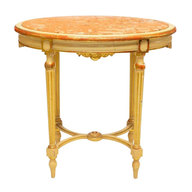 Late 19th Century Antique Louis XVI Style Parcel Gilt Marble Table For Sale