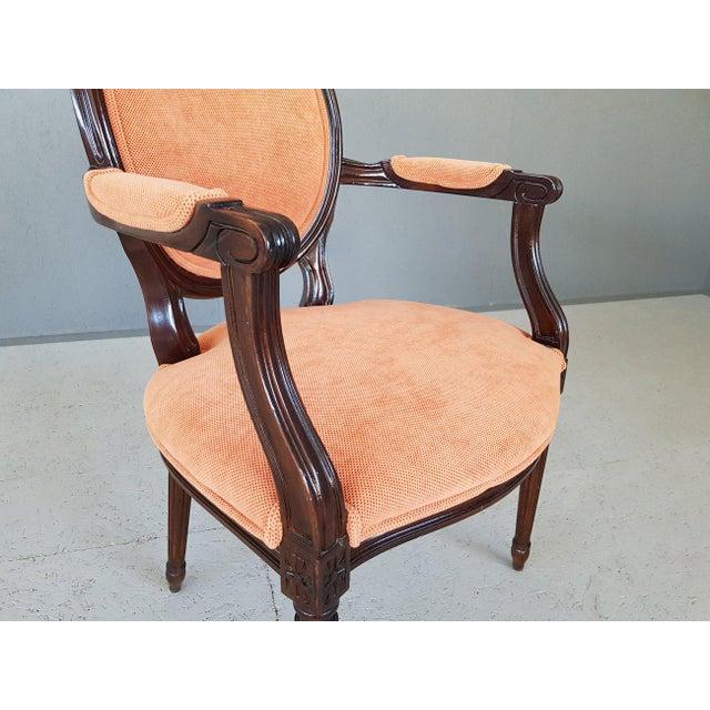Burnt Umber Louis XVI Velvet Upholstery Arm Chair For Sale - Image 8 of 13