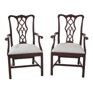 Henkel Harris #115 Carved Mahogany Arm Chairs- A Pair For Sale