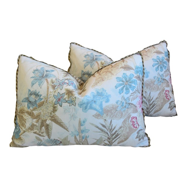 "Cowtan & Tout Floral Linen Feather/Down Pillows 26"" X 18"" - Pair For Sale"