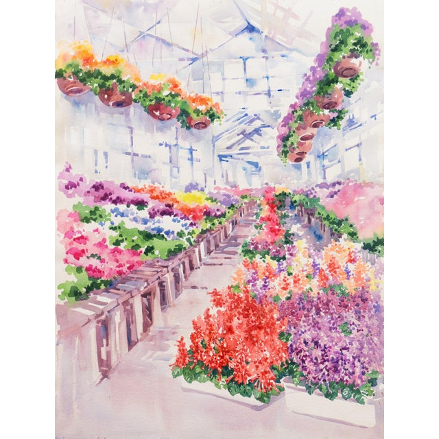 'Flowers in the Greenhouse' by Charlotte Britton, California Woman Artist, American Watercolor Association For Sale