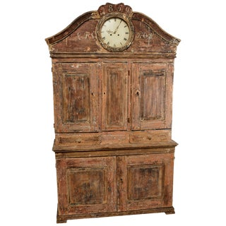 Painted and Scraped Faux Grain Gustavian Clock Cabinet For Sale