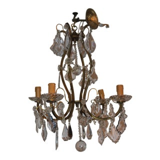 Late 19th Century Antique Baccarat Crystal/ Bronze Cage Frame 4 Light Chandelier For Sale