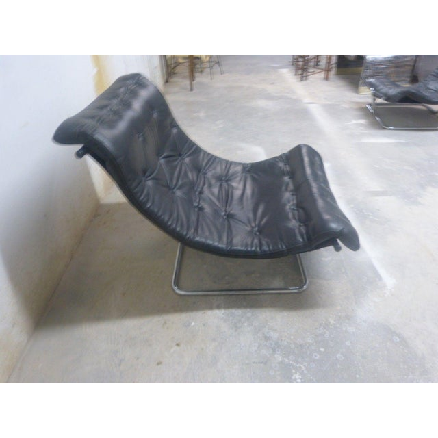 Aluminum Stylish Quality 60's Architectural Aluminum and Leather Scoop Chair For Sale - Image 7 of 7