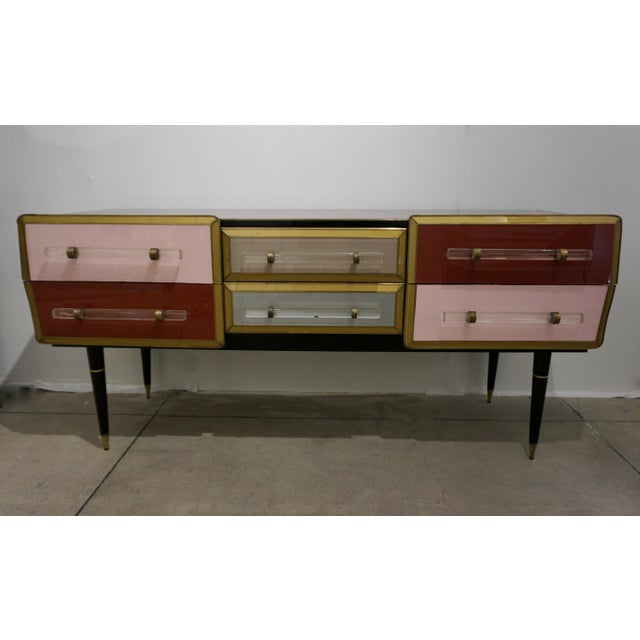 Hollywood Regency 1960 Italian Vintage Rose Pink Gray Wine Gold 6 Drawers Sideboard / Console For Sale - Image 3 of 13