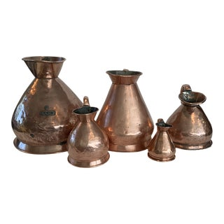 Antique English Copper Ale Measures - Set of 5 For Sale