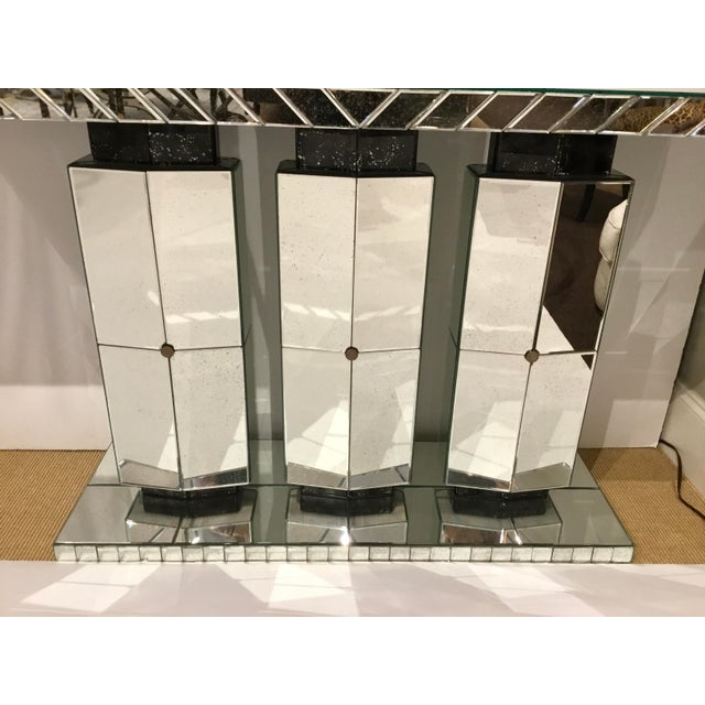 Glass Maitland Smith Modern Mirrored Console Table For Sale - Image 7 of 12