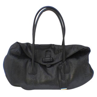 Jil Sander Black Python Snakeskin Shoulder Bag Tote For Sale