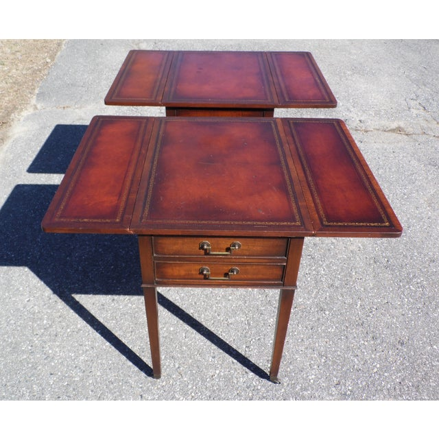 Traditional Pair Federal Leather Top Mahogany Drop Leaf End Tables Nightstands For Sale - Image 4 of 13