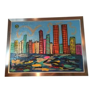 Monumental Peter Keil New York Skyscraper Painting For Sale
