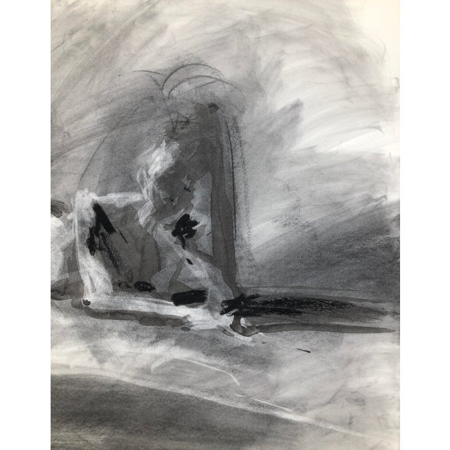 """Contemporary Figure Drawing in Charcoal and Ink - """"Idle, Crossed Feet"""", by Artist David O. Smith For Sale - Image 10 of 12"""